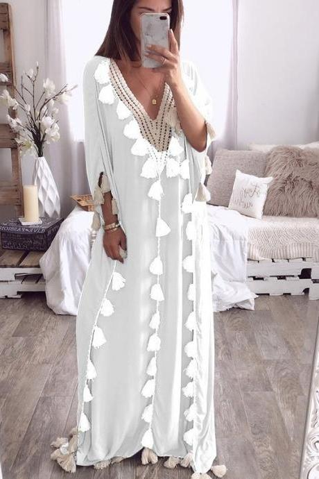 Women Maxi Dress Summer V Neck 3/4 Sleeve Tassels Beach Causal Loose Boho Long Dress white