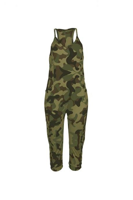 Women Camouflage Jumpsuit Spaghetti Strap Sleeveless Pockets Streetwear Casual Loose Rompers army green