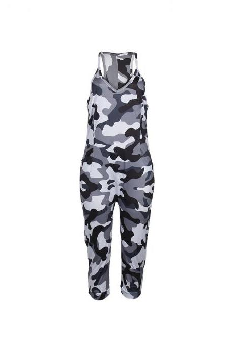 Women Camouflage Jumpsuit Spaghetti Strap Sleeveless Pockets Streetwear Casual Loose Rompers gray