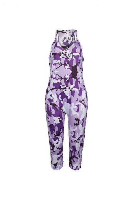 Women Camouflage Jumpsuit Spaghetti Strap Sleeveless Pockets Streetwear Casual Loose Rompers purple