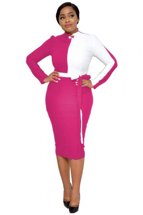 Women Pencil Dress Patchwork Color Long Sleeve Casual Work Office Slim Midi Bodycon Party Dress hot pink