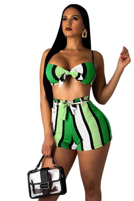 Women Two Pieces Set Bikini Bra Top+Shorts Summer Striped Casual Beach Club Party Outfits green