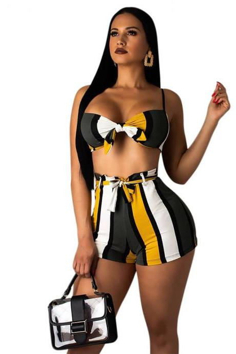 Women Two Pieces Set Bikini Bra Top+Shorts Summer Striped Casual Beach Club Party Outfits yellow