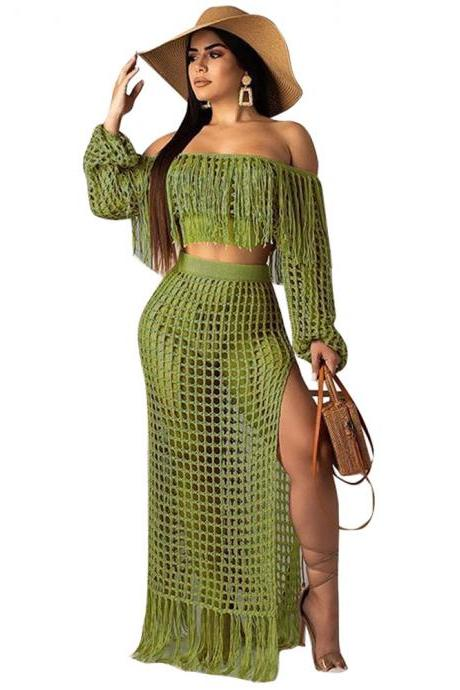 Women Two Pieces Set Mesh Grid Sheer Tassel Off Shoulder Crop Top+Side Split Maxi Skirt Summer Beach Long Suits army green
