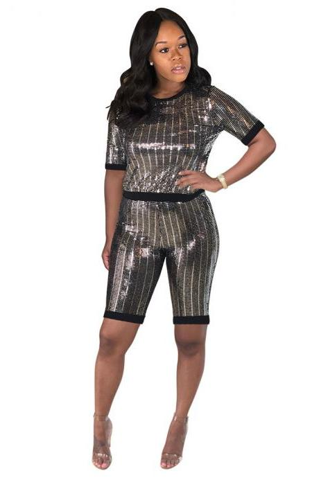 Women Tracksuit Short Sleeve T Shirt + Summer Shorts Sequined Two Piece Set Night Club Party Outfits silver-black