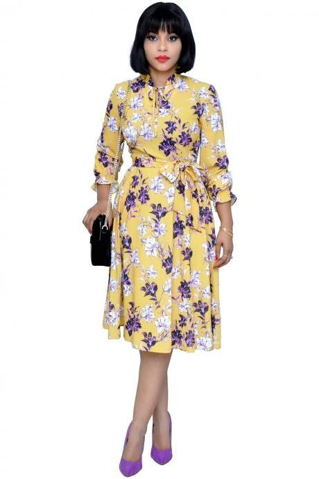 Women Floral Printed Dress 3/4 Sleeve Casual Belted Summer Beach Holiday Boho Midi A Line Dress yellow
