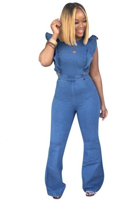 Women Denim Jumpsuit Ruffles Sleeveless Back Zipper Bodycon Long Flare Romper Overalls blue
