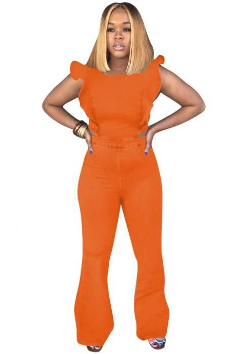 Women Denim Jumpsuit Ruffles Sleeveless Back Zipper Bodycon Long Flare Romper Overalls orange