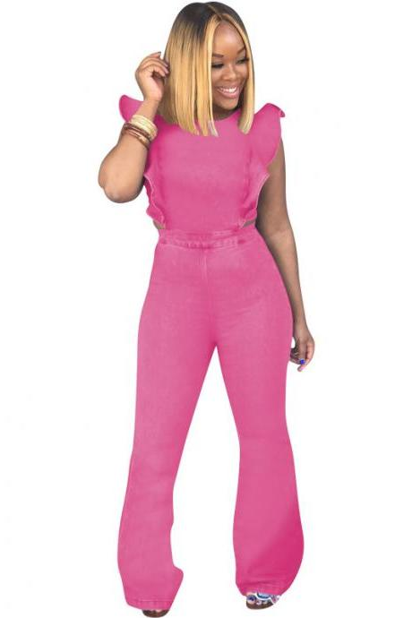Women Denim Jumpsuit Ruffles Sleeveless Back Zipper Bodycon Long Flare Romper Overalls pink