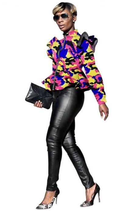 Women Camouflage Printed Coat Spring Fall Stand Collar Long Sleeve Ruffles Zip Jackets yellow