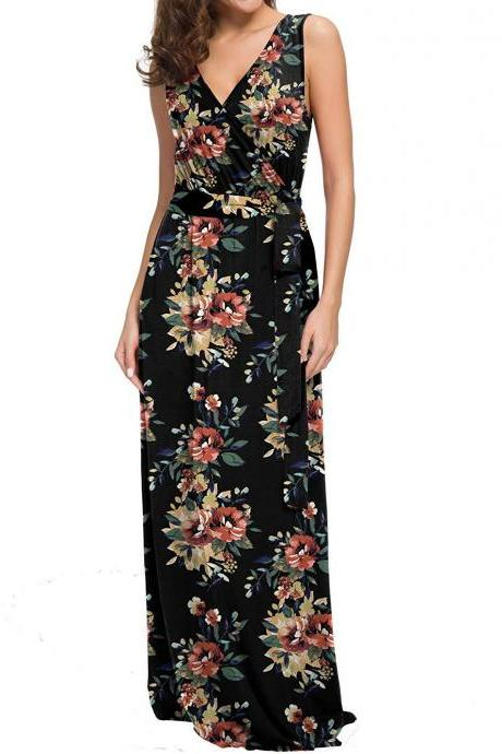 Women Floral Printed Maxi Dress V Neck Sleeveless Summer Beach Boho Casual Long Party Dress 3#
