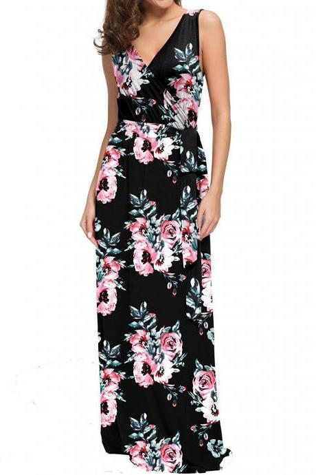 Women Floral Printed Maxi Dress V Neck Sleeveless Summer Beach Boho Casual Long Party Dress 5#