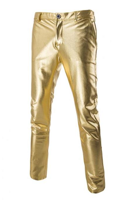 Men Long Pants Costumes Golden Performance Show Hot Stamping Casual Business Trousers gold