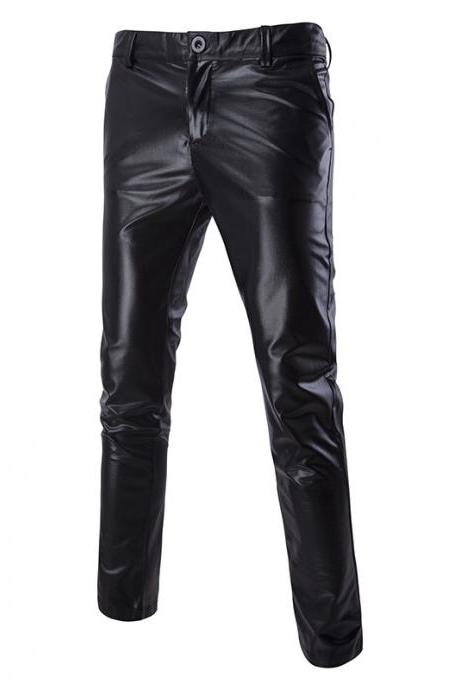 Men Long Pants Costumes Golden Performance Show Hot Stamping Casual Business Trousers black