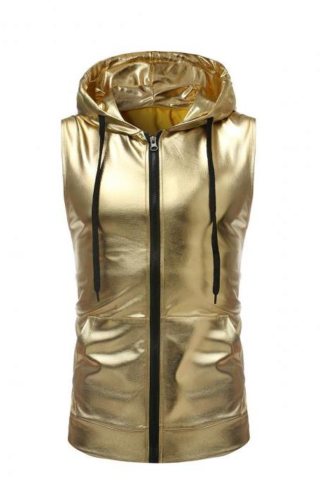 Men Tank Top Performance Dance Hiphop Zipper Casual Club Sleeveless Hooded Vest Top gold