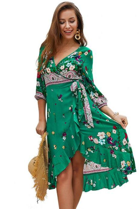 Women Floral Printed Dress V Neck 3/4 Sleeve Summer Beach Boho Casual Asymmetrical Dress green