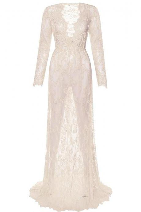 Women Perspective Lace Dress Sexy V Neck Long Sleeve Plus Size Maxi Long Party Prom Dress apricot
