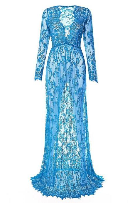 Women Perspective Lace Dress Sexy V Neck Long Sleeve Plus Size Maxi Long Party Prom Dress light blue