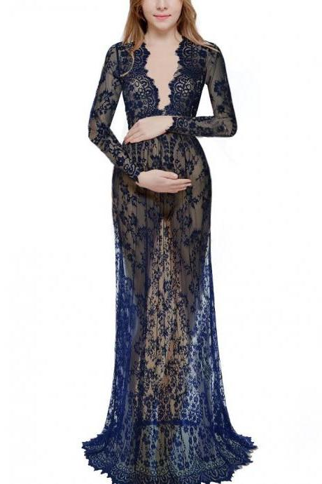 Women Perspective Lace Dress Sexy V Neck Long Sleeve Plus Size Maxi Long Party Prom Dress navy blue