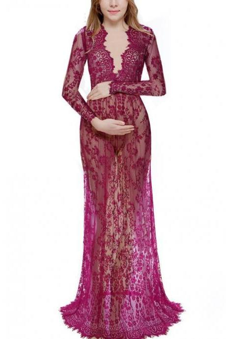 Women Perspective Lace Dress Sexy V Neck Long Sleeve Plus Size Maxi Long Party Prom Dress purple