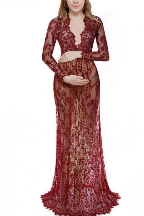 Women Perspective Lace Dress Sexy V Neck Long Sleeve Plus Size Maxi Long Party Prom Dress wine red