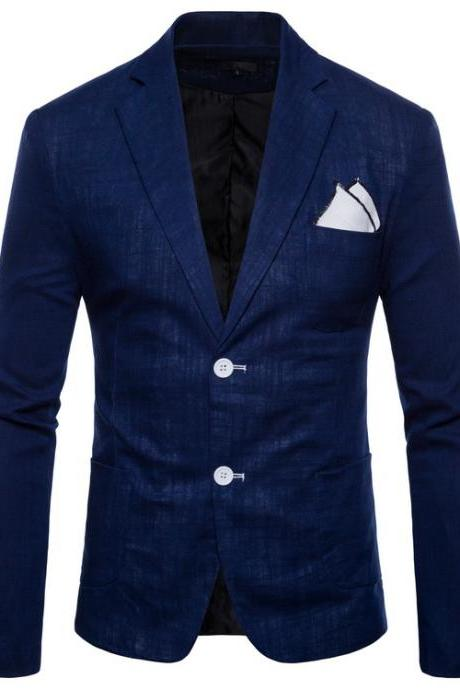 Men Blazer Coat Two Buttons Cotton Linen Long Sleeve Plus Size Slim Fit Suit Jacket navy blue