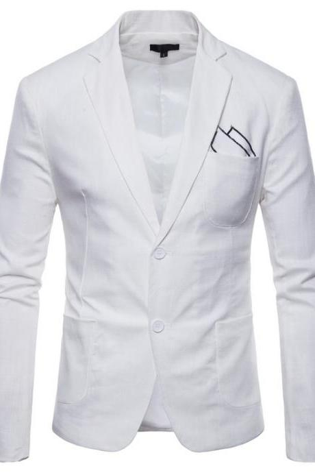 Men Blazer Coat Two Buttons Cotton Linen Long Sleeve Plus Size Slim Fit Suit Jacket white