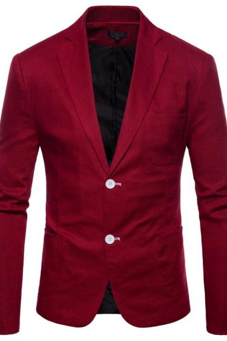 Men Blazer Coat Two Buttons Cotton Linen Long Sleeve Plus Size Slim Fit Suit Jacket wine red