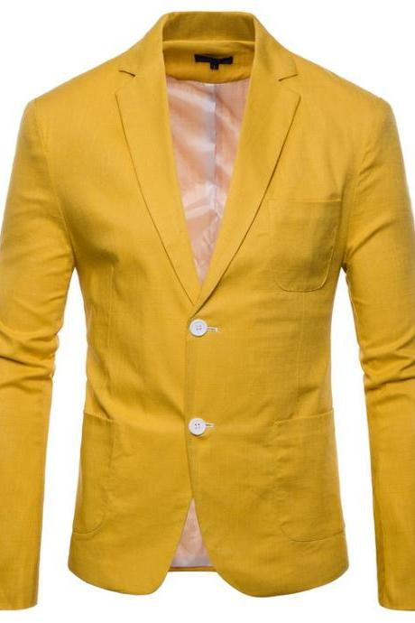 Men Blazer Coat Two Buttons Cotton Linen Long Sleeve Plus Size Slim Fit Suit Jacket yellow