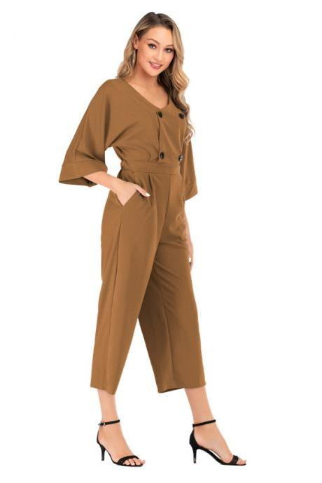 Women Wide Leg Jumpsuit Summer V-Neck Bat Half Sleeve Button Casual Loose Rompers Overalls brown
