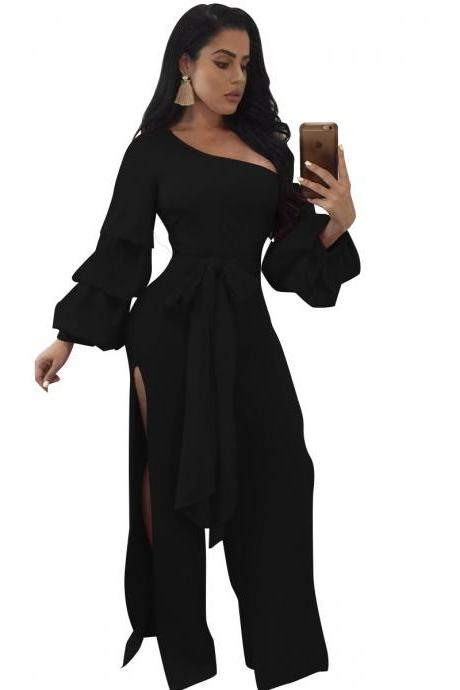 Women Jumpsuit Long Lantern Sleeve Split Side Belted Slim Casual Wide Leg Pants Rompers black