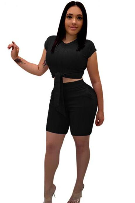Women Tracksuit Short Sleeve Bandage Crop Tops+Bodycon Shorts Casual Summer Two Piece Sets Playsuit black