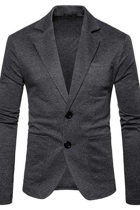Men Blazer Coat British Style Two Buttons Long Sleeve Casual Slim Fit Suit Jacket dark gray
