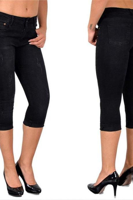 Women Jeans Summer High Waist Plus Size Slim Cropped 3/4 Trousers Stretch Skinny Denim Pencil Pants black