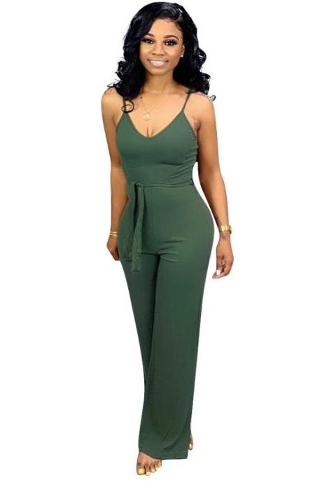 Women Jumpsuit Casual Spaghetti Strap Sleeveless Belted Long Wide Leg Pants Rompers army green