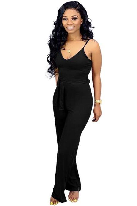 Women Jumpsuit Casual Spaghetti Strap Sleeveless Belted Long Wide Leg Pants Rompers black