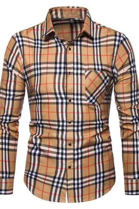 Men Plaid Shirt Turn-down Collar Long Sleeve Casual Business Slim Fit Plus Size Tops khaki