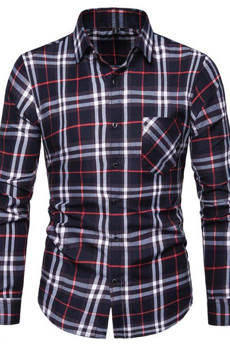 Men Plaid Shirt Turn-down Collar Long Sleeve Casual Business Slim Fit Plus Size Tops navy blue