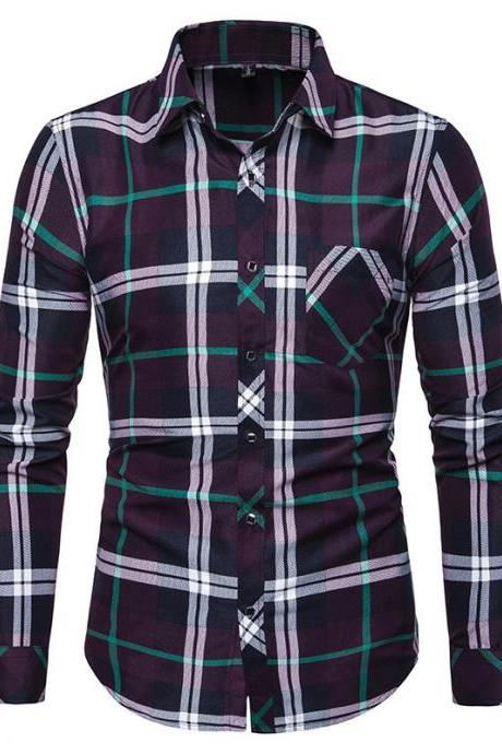 Men Plaid Shirt Turn-down Collar Long Sleeve Casual Business Slim Fit Plus Size Tops purple