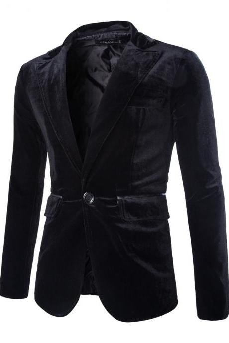 Men Corduroy Blazer Coat One Button Long Sleeve Casual Slim Fit Suit Jacket black