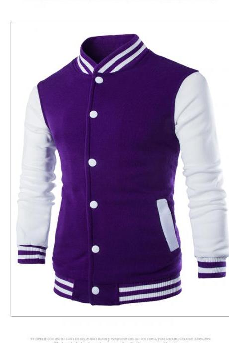 Men Baseball Coat Spring Autumn Single Breasted Long Sleeve Casual Bomber Jacket purple