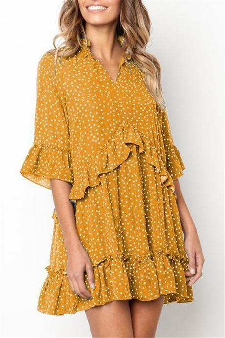 Women Polka Dot Dress V Neck Flare Half Sleeve Ruffles Summer Beach Casual Mini Dress yellow