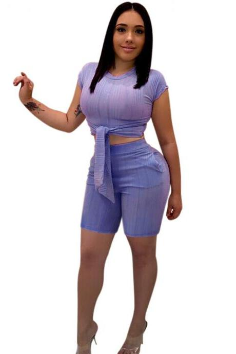 Women Tracksuit Short Sleeve Bandage Crop Tops+Bodycon Shorts Casual Summer Two Piece Sets Playsuit blue-purple