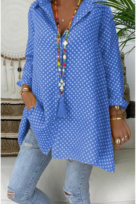 Women Polka Dot Blouse V Neck Long Sleeve Casual Loose Plus Size Top Shirt blue