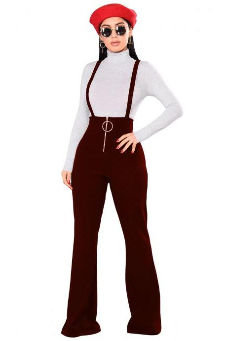 Women Flare Pants High Waist Front Zipper Metal Circle Long Casual Spaghetti Strap Wide Leg Trousers wine red