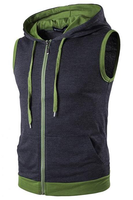 Men Waistcoat Patchwork Contrast color Casual Vest Slim Hooded Sleeveless Coat dark gray