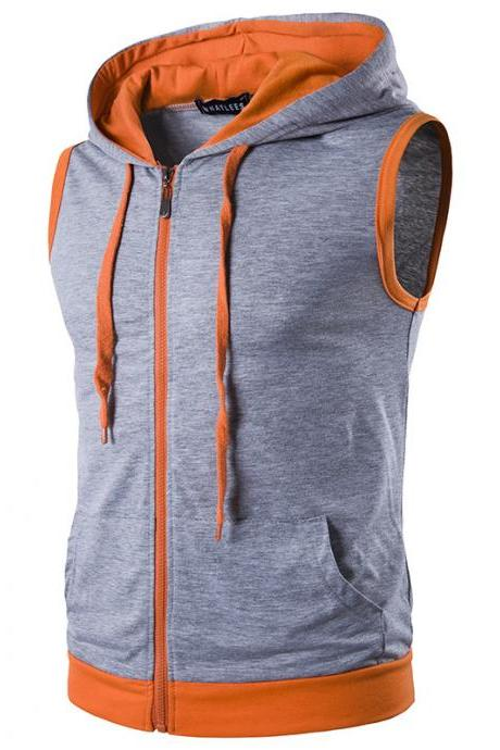 Men Waistcoat Patchwork Contrast color Casual Vest Slim Hooded Sleeveless Coat gray
