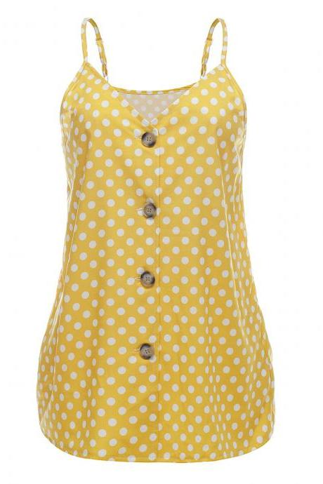Women Polka Dot Tank Tops Spaghetti Strap Button Summer Casual Vest Sleeveless T Shirt yellow