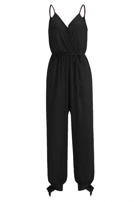 Women Jumpsuit V Neck Spaghetti Strap Sleeveless Casual Summer Long Pants Rompers black