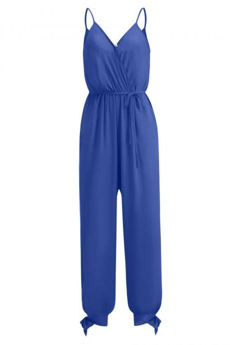 Women Jumpsuit V Neck Spaghetti Strap Sleeveless Casual Summer Long Pants Rompers blue